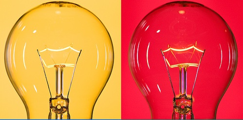 2 bulbs - yellow and red